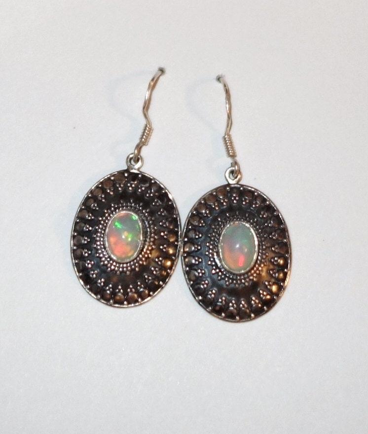 genuine opal earrings sterling silver southwestern