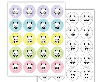 Panda Cupcake Toppers, Panda 2inches Circles, Panda Supplies, Panda Print, Panda Party, Panda Birthday, Panda Topper, Panda Cupcake, Tags