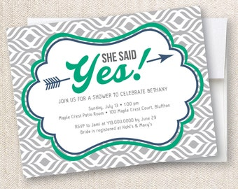 Bridal Shower Invitation She Said Yes with Custom Colors