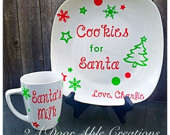 Cookies for Santa plate and cup