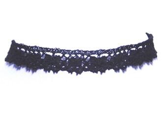 Black Crochet Scallop Gothic Burlesque Choker Necklace