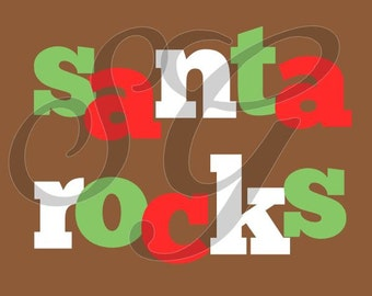 Personalized Santa Rocks Christmas iron on decal for shirt
