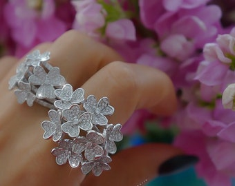 925 Sterling silver flower statement rings
