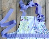 Paris apron for girls, purple Paris apron, girl apron, Eiffel Tower apron,  reversible apron, craft apron, baking apron, girl birthday gift