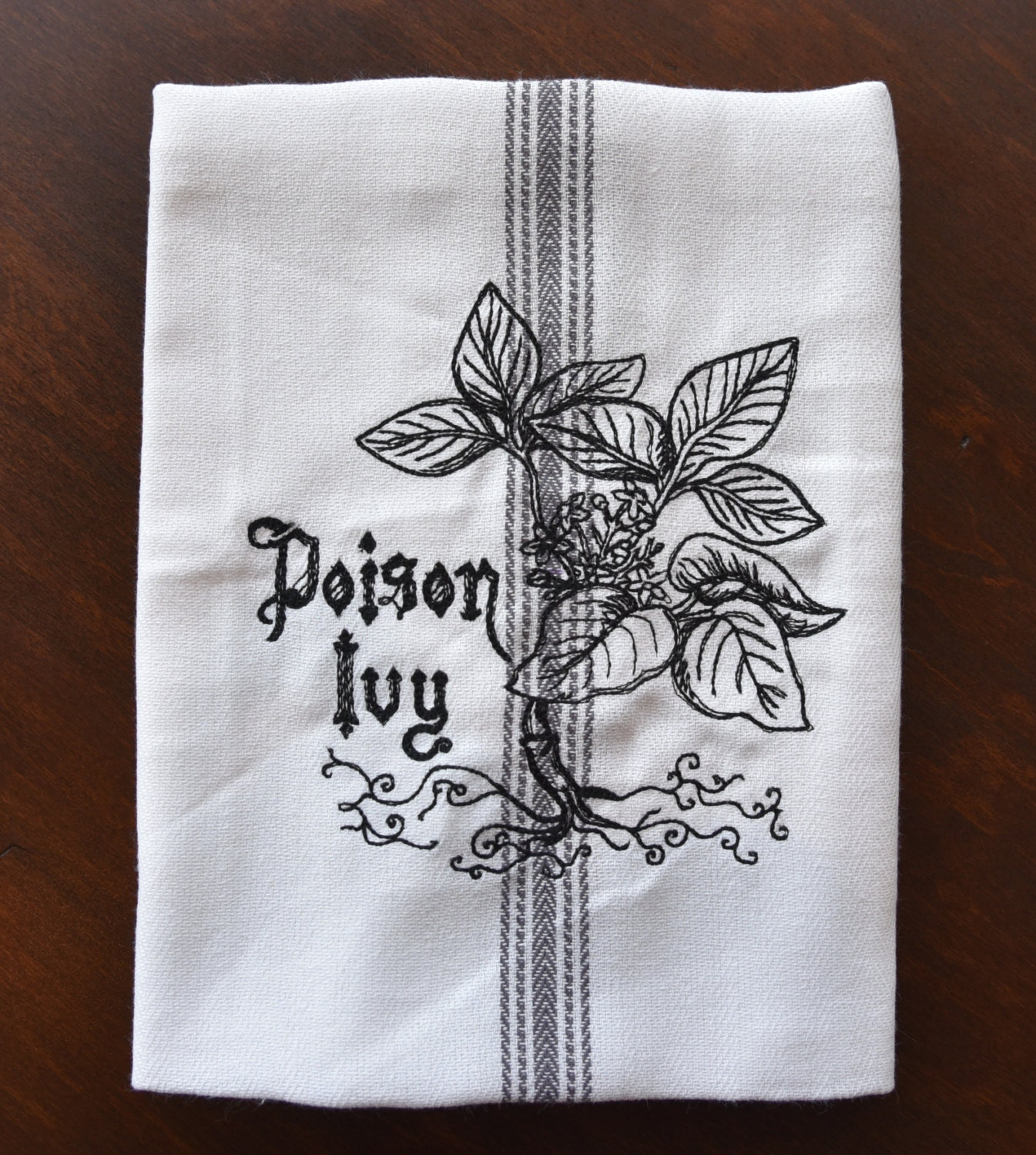 Poison Ivy Embroidered Kitchen Dish And Tea Towel With Charcoal Center Stripe And Hanging Loop
