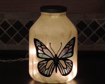 Handcrafted nightlight with blue monarch butterfly