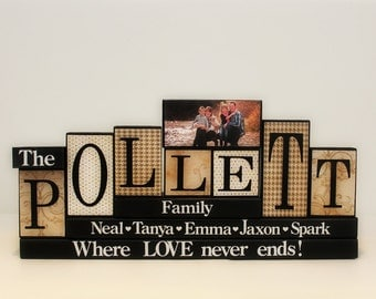 Gifts For Family -  Wooden Blocks - Family Blocks - Mantle Centrepiece - Family Name Blocks - Anniversary Gift - 7 Letters Last Name Sign