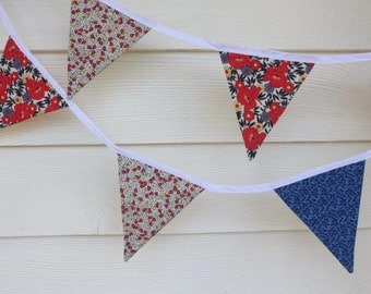 SALE 25% off - Handmade Fabric Bunting - Red, Blue, White and Black - Eleven Double Sided Flags - 2 available Ready To Ship