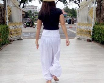 Ladies Harem Pants Leggings Smocked Baggy Genie Yoga White