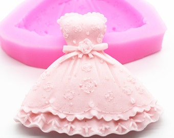 Wedding Dress Fondant Mold Soap Mold Flexible Silicone Mold For Handmade Soap Candle Candy Cake
