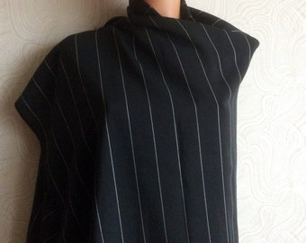 1.64 Yards 1.64 yards wide 80s vintage black with white stripes rayon  fabric