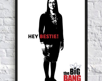 A3 - The Big Bang Theory Inspired Poster - Amy Farrah Fowler - Hey Bestie - TV Poster