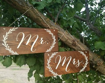 Mr. and Mrs. wooden signs, chair hangers, garland, sweetheart table, wedding decor, mr and mrs signs, wooden wedding signs, mr and mrs