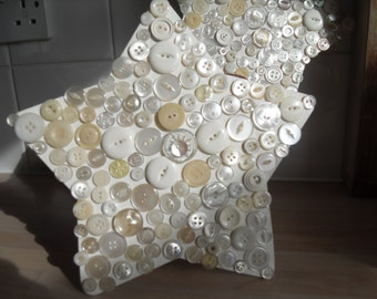 Handmade star with vintage buttons, some mother of pearl, double sided Christmas handing loop shabby chic upcycled repurposed salvaged