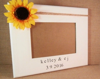 Wedding frame personalized wedding gift for newlyweds, sunflower bridal shower decorations