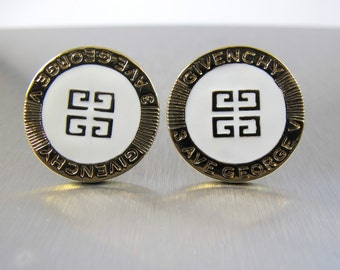 Givenchy Enamel Logo Earrings, White Enamel Gold GG Logo Clip Ons, 3 Ave George V. French Haute Couture Givenchy Jewelry,