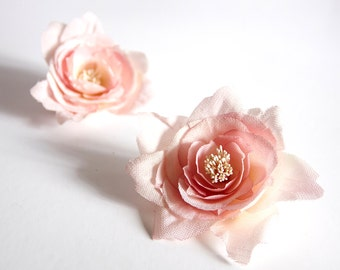 Bridal hand dyed silk flower hair bobby pins, headpiece - Flower bobby pins, set for two, Ready to Ship