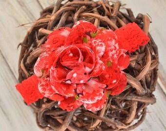 Red Floral Print Headband