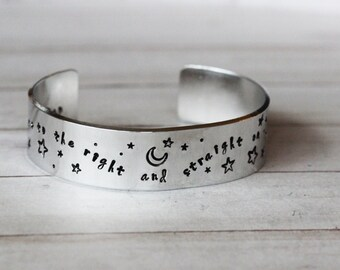 Second Star to the Right and straight on till morning Peter Pan Cuff Bracelet ..... Hand Stamped - Fully customisable Peter Pan Gift