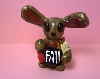 Fall inspired, polymer clay, bunny rabbit, sculpture