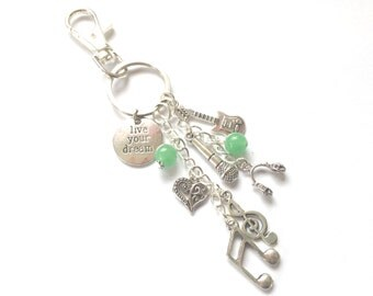 Music In My Veins Keyring Bag Charm Key Chain Musical Musician Instrument Band Gift