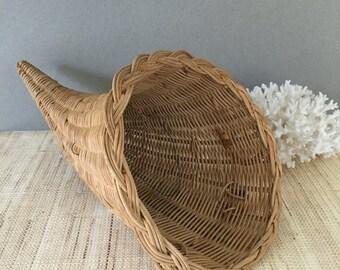 Vintage cornucopia | fall cornucopia | wicker cornucopia | fall thanksgiving | autumn decor |centerpiece | horn of plenty