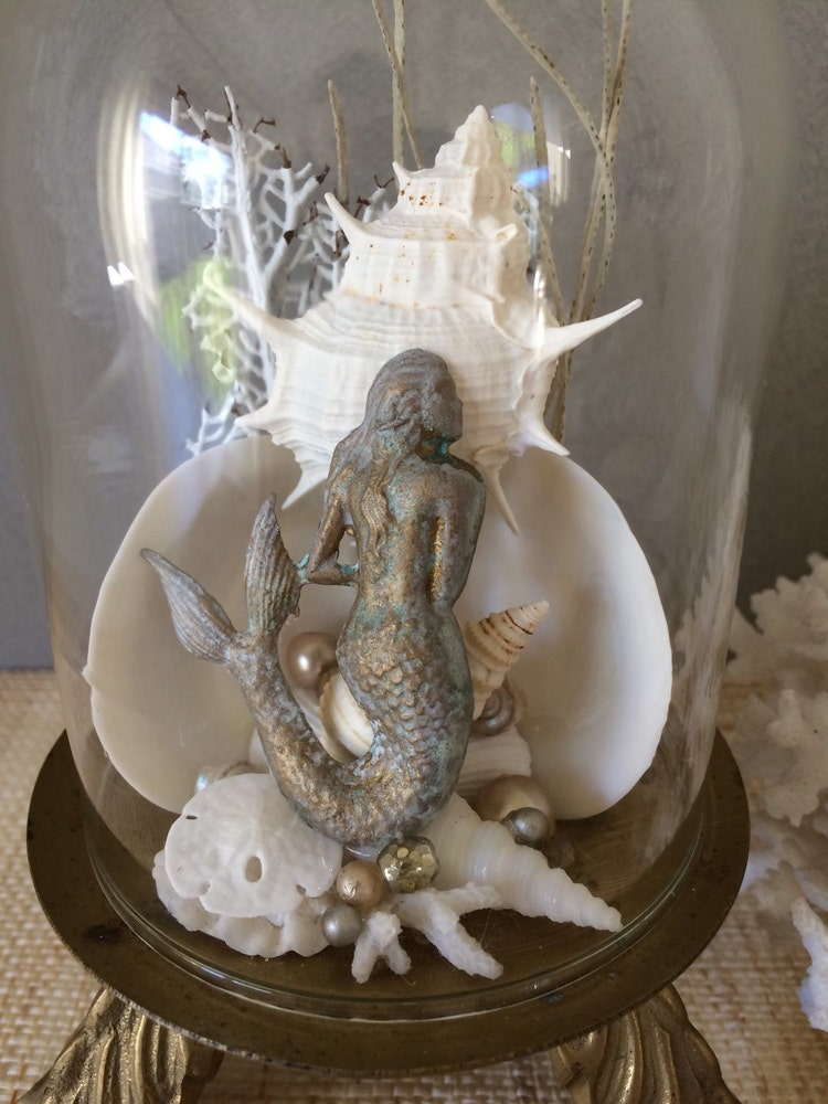 Vintage mermaid coastal decor mermaid by palmtreesandpelicans for Mermaid bathroom decor vintage
