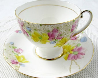 Vintage Tea Cup and Saucer by Royal Mayfair, English Bone China, Hand Painted