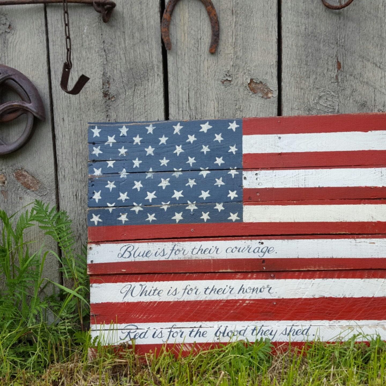 Rustic Wood American Flag Wood Flag Military Flag Home