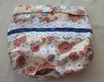 FREE SHIPPING. Dog Diaper. In Season Diaper. In Heat Panty. Tan Floral Retro Print. XX-Large.