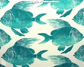 FLASH SALE!!,ODL Fish Turquoise, Indoor Outdoor Fabric, Fabric By The Yard, P.Kaufman Fabrics