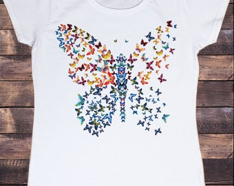 Womens White T-shirt Butterfly Splash Abstract Broken Wing Effect Novelty Print TS176