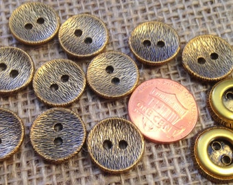 "Lot of 12 Antiqued Brass Tone Metal Buttons Concave Almost 5/8"" 15mm # 7300"