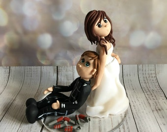 Pregnant Bride and Groom Wedding cake Topper - Fully Personalised a lovely keepsake