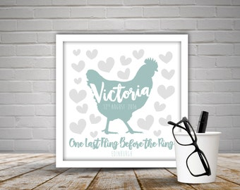 Personalised Hen Party Fingerprint Print