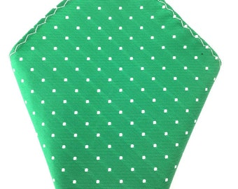 Mens Pocket Square. Green with white polka dot.  Handkerchief. Formal Suit .Hanky. Tuxedo Tie Necktie Pocket Square. Green Pocket Square.