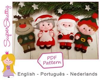 Felt pattern Santa & Family, softie pattern Christmas, plush pattern doll, pdf sewing pattern by Superskattig