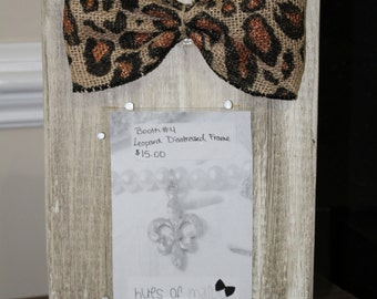 Cream Tan Distressed Picture Frame Leopard Bow