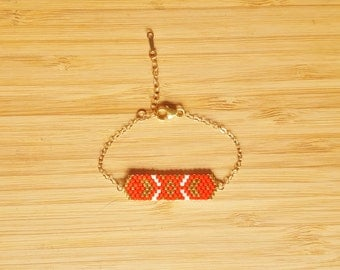 Cheyenne coral plate 14-Karat Gold Bracelet and glass Miyuki peyote weaving beads
