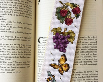 "Cross Stitch Bookmark, ""Harvest IV"", Handcrafted Bookmark, Gift for Bookworm"