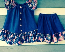 Little Girls  Peasant Dress and Shorts   Upcycled Denim  2T