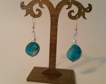 Turquoise shell and pearl earrings