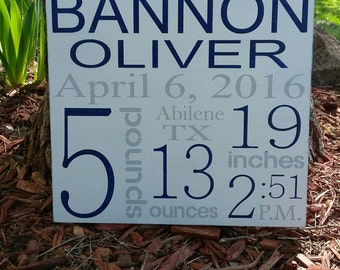 "Birth Stats Wood Sign, Birth Announcement, New Baby, 12""x12"""
