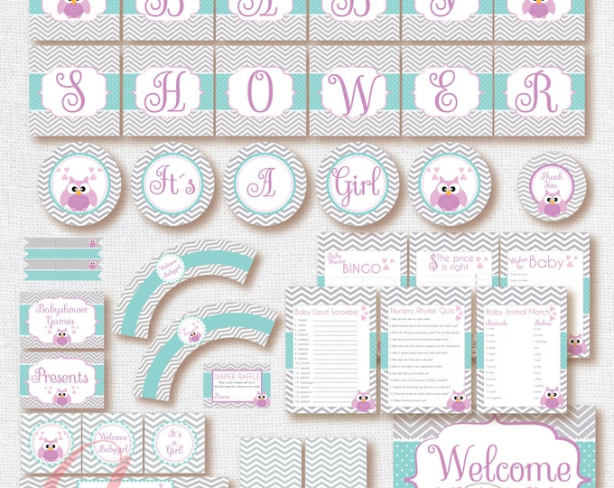 Babyshower Owl Party Package. Instant download. Printable. Girl owl Babyshower. Girl babyshower. Purple and gray chevron babyshower.
