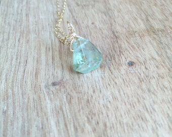 Aquamarine Necklace - Raw Aquamarine  Jewelry - Aquamarine - Gold Necklace - Raw Crystal Necklace - Gift for Her