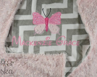 personalized blanket, minky blanket, personalized name blanket, name and butterfly blanket, choose your colors, choose your size