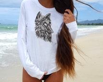 graphic tee/wolf Shirt/wolf T shirt woman/wolf t-shirt/tee shirts women /wolf /White Shirt women/White wolf Shirt/white shirt
