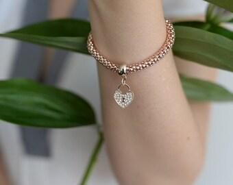 Bracelet with heart pendant - love lock: Rosé gold