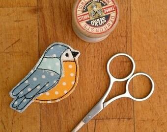 Beautiful Blue tit bird brooch. Machine freehand embroidery and appliqué. British garden bird badge