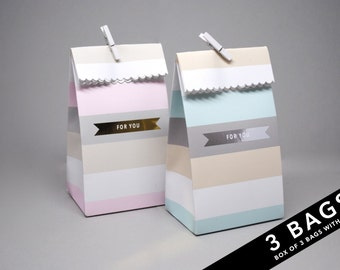 3 Wide Stripe Treat Bags with Foiled Banner